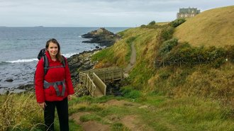 Caroline Allen hiking the Ireland Way trail